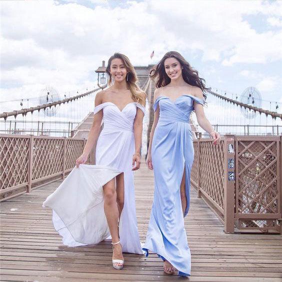 Off Shoulder White/Blue Split Side Prom Dresses Bridesmaid Dress