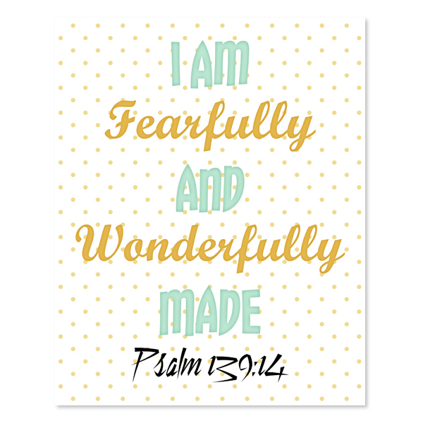 Fearfully & Wonderfully Made_Green Set - Printable wall Art