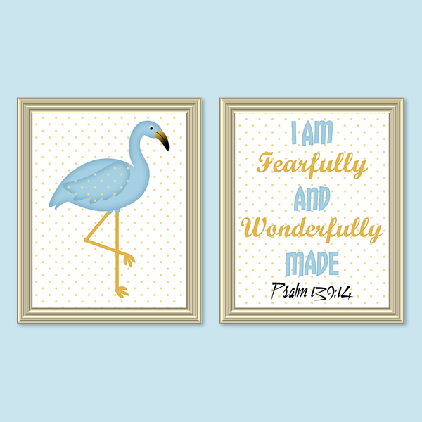 Fearfully & Wonderfully Made_Blue Set - Printable wall Art