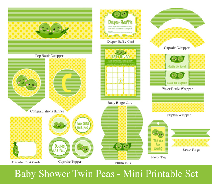 TWINS BABY SHOWER Printable Mini Set - Twins party Mini Set - 2 Peas in a pod