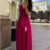 A-Line V-Neck Floor Length Sleeveless Red Satin Prom Dress with Split Dresses