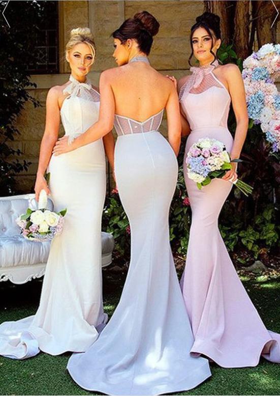 Charming Acetate Satin & Tulle Halter Neckline Backless Mermaid Bridesmaid