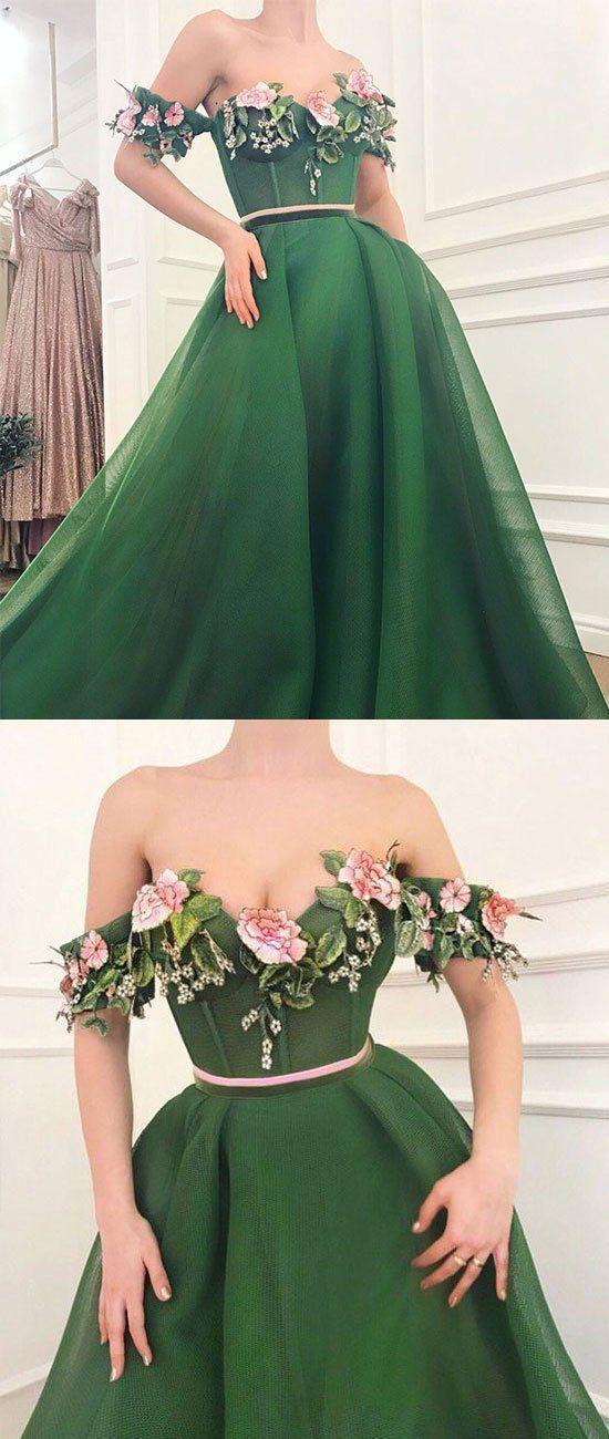 GREEN SWEETHEART OFF SHOULDER LONG PROM DRESS, GREEN EVENING DRESS