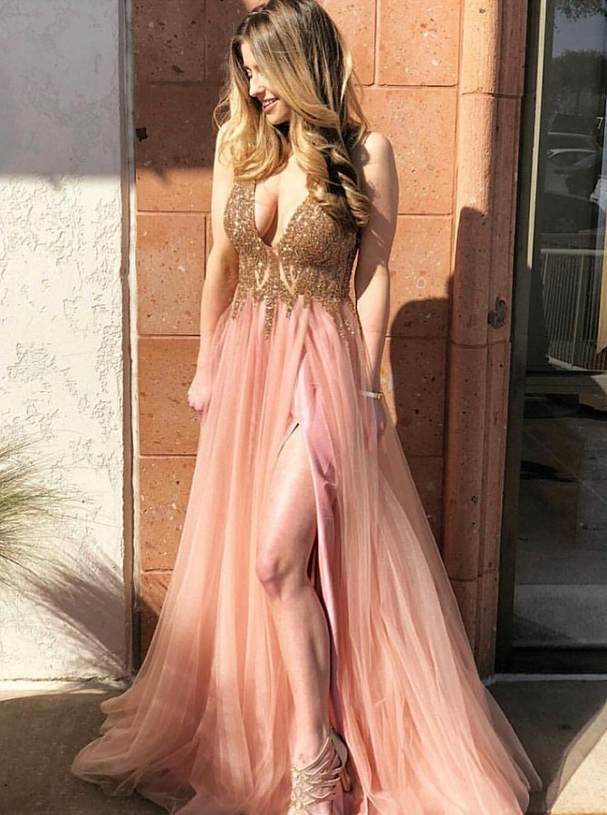 Deep V Neck Split Side Prom Dresses with Beaded