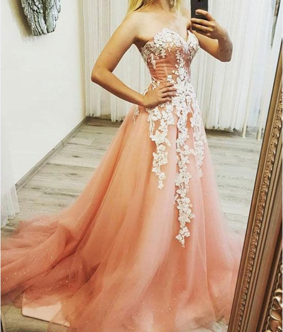 PINK SWEETHEART NECK TULLE LACE APPLIQUE LONG PROM DRESS, EVENING DRESS