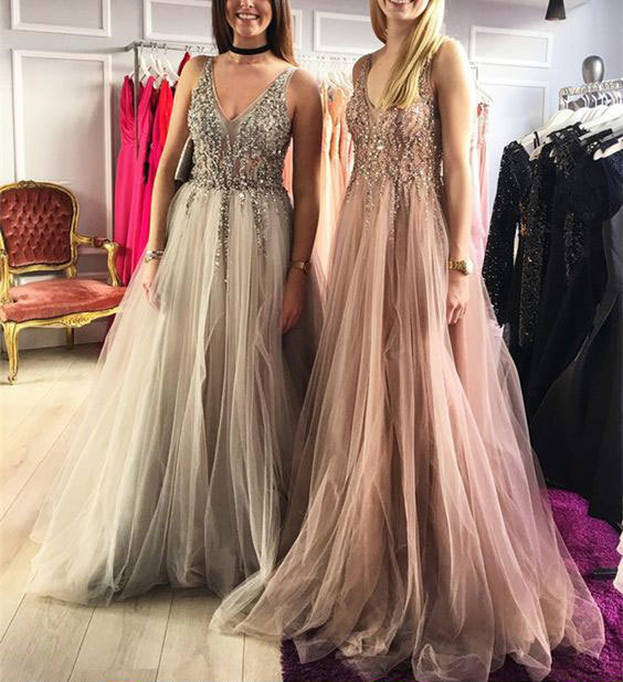 V Neck Long Tulle Prom Dresses for women with Sequined