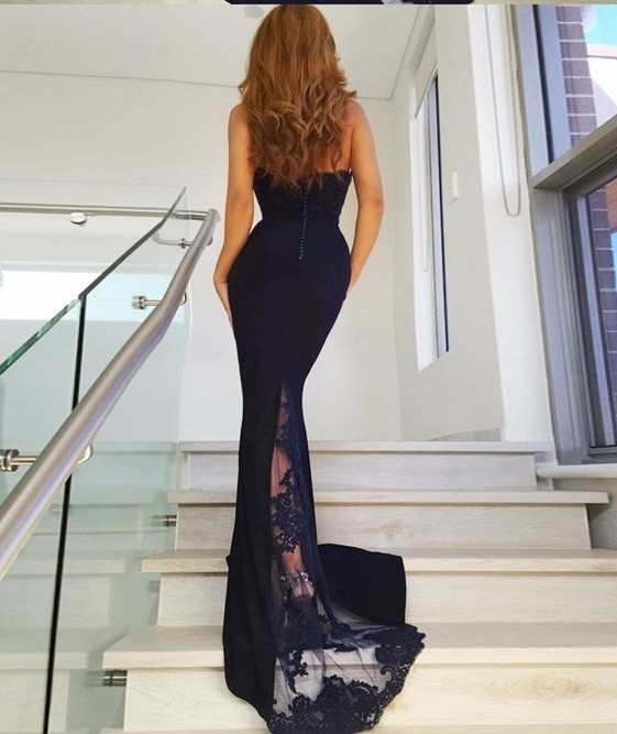 Sexy Mermaid Halter Navy Blue Elastic Satin Prom Dress with Lace Backless Prom