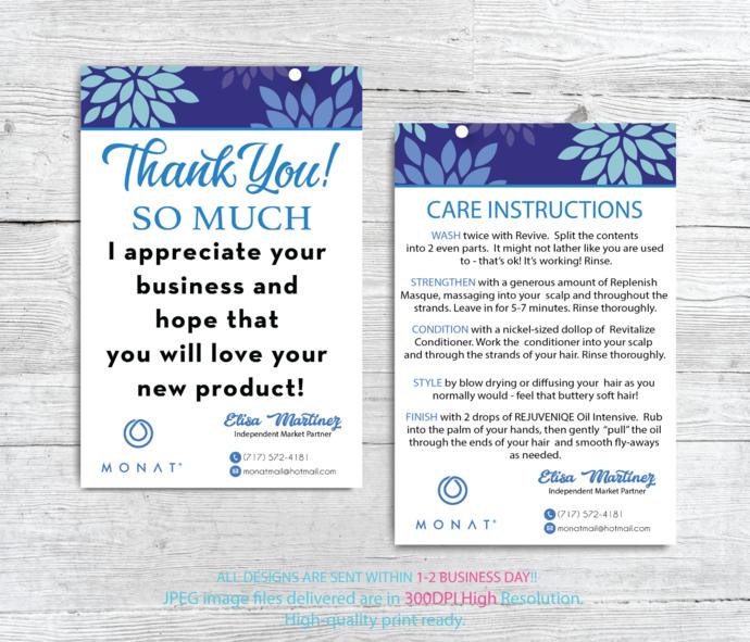 Monat Thank You Card Monat Care Instruction By Digitalart On Zibbet