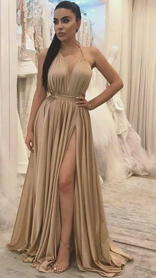 Sexy Halter Backless Long Prom Dresses with Split Side Evening Dresses