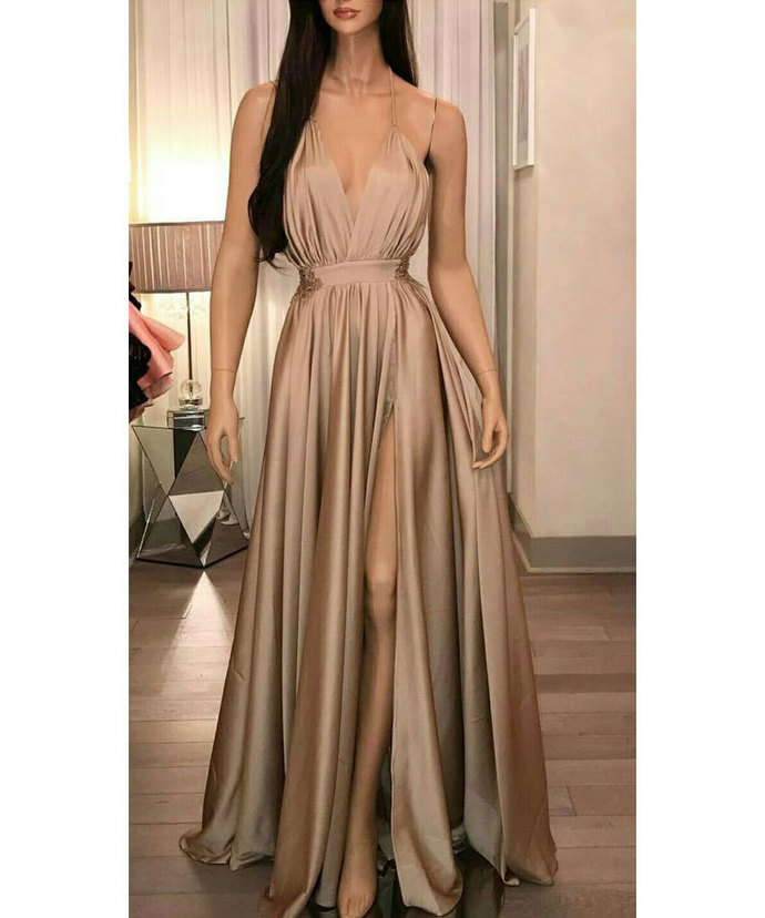 Sexy Spaghetti Straps Split Side Taffeta Sweep Train Long Prom Dresses Evening