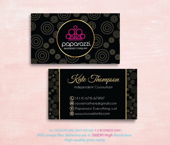 Paparazzi Business Cards, Floral Paparazzi Card, Personalized Paparazzi Business