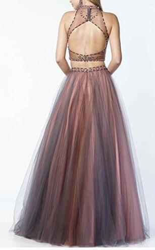 Women's High Neck Beaded 2 Piece Prom Dress Keyhole Formal Evening Party Dress