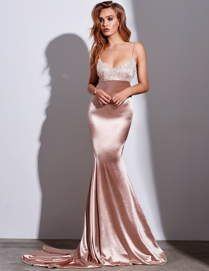 Silk Like Satin Mermaid Prom Dress with Appliques Open Back Formal Evening Dress