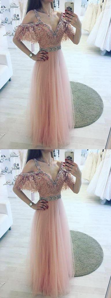 High Fashion A-Line V-Neck Off Shoulder Pink Long Prom/Evening Dress with