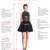 Modest 3/4 Sleeves Tulle V-neck Homecoming Dresses Lace Applique