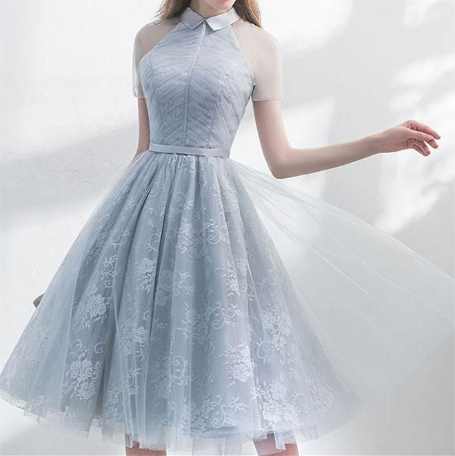 Unique Grey Tulle Homecoming Dress,A-Line See Through Short Sleeves Knee Length
