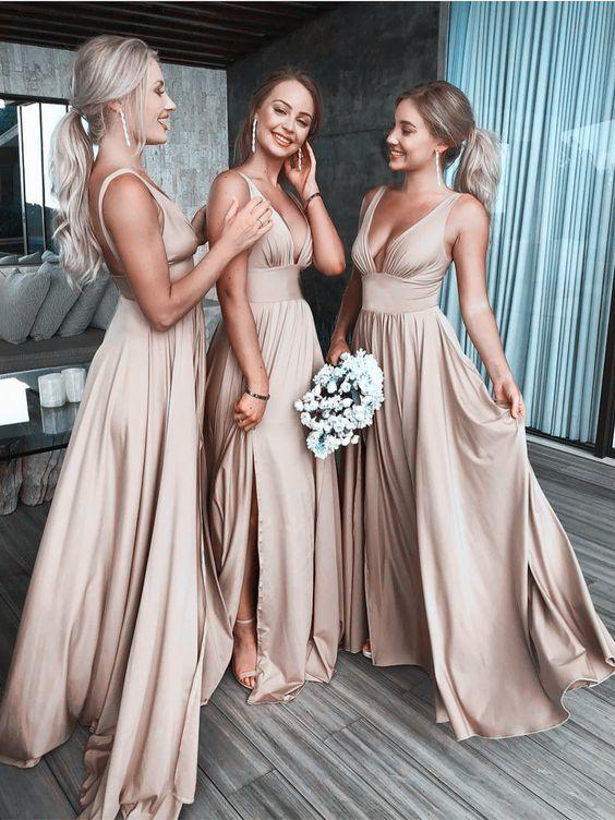 A Line V Neck Champagne Elastic Satin Prom Dresses