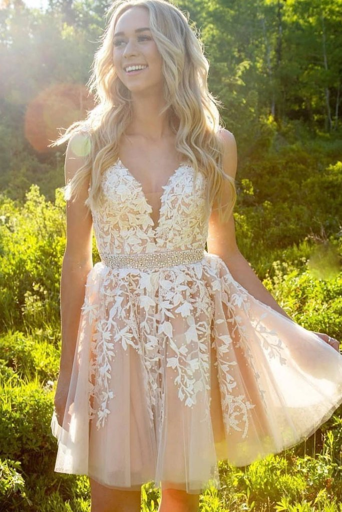 Cute Champagne V Neck Lace Homecoming Dress Short Prom Dress