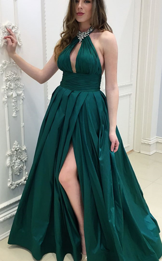 Dark Green Beaded Halter A-Line Prom Dress Formal | dresses