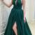 Dark Green Beaded Halter A-Line Prom Dress Formal Evening Gown With Side Slit