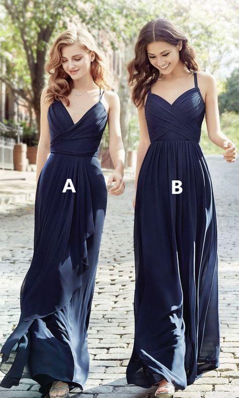 Long Cheap Chiffon Navy Blue Bridesmaid Dress Spaghetti Strap Bridesmaid Dresses