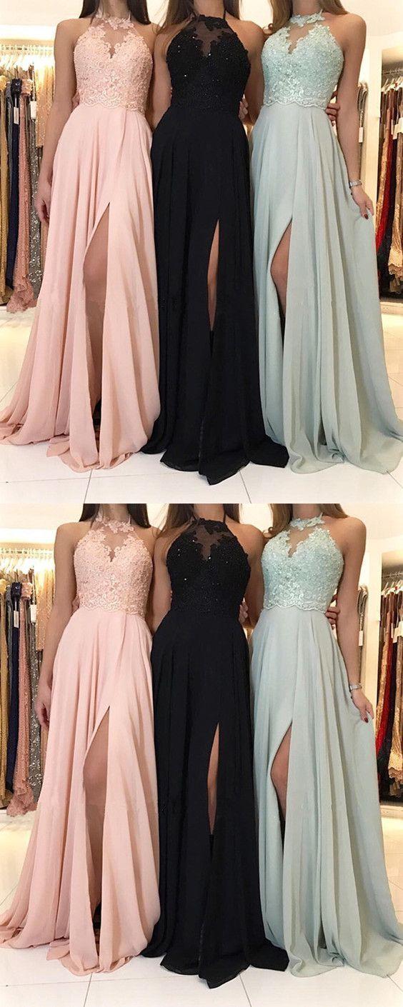 79cdf0807e2 Charming Lace Halter Long Chiffon Split Evening Gowns 2019 Formal Prom  Dresses