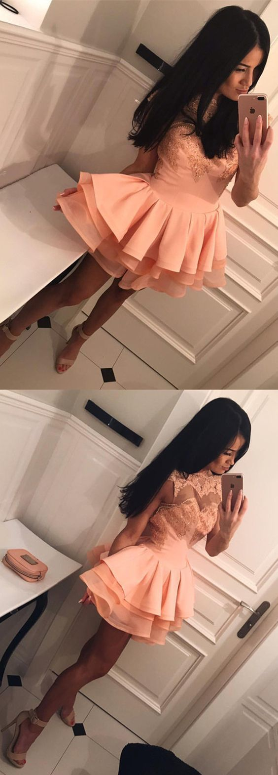Chic Lace Appliques Cap Sleeves Organza Ruffles Short Prom Homecoming Dresses
