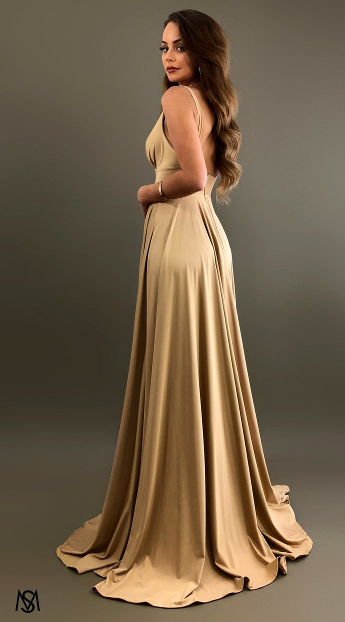 Nude V Plunge Neckline Side Split Long Prom Evening Dress Party Dresses