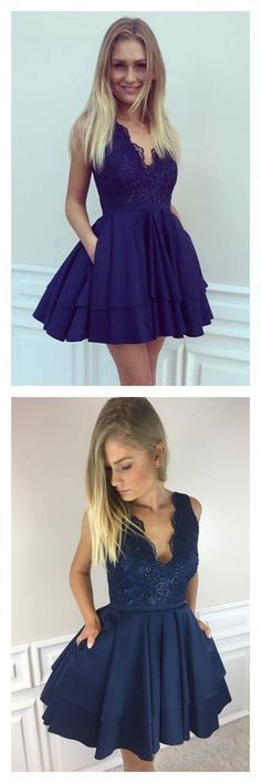 A-Line V-Neck Dark Blue Satin Short Homecoming Dress with Lace Beading Pockets