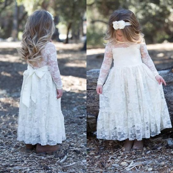 b2996985c2989 Vintage Flower Girl Dresses Gown for Wedding Cheap High Quality Illusion  Long