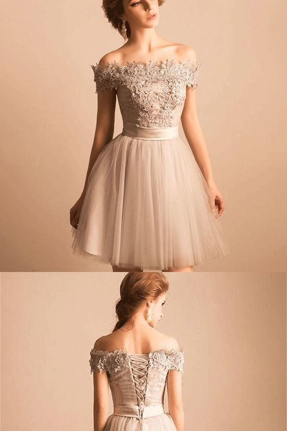 911f329f9 Off-the-Shoulder Prom Dresses, Ivory Short Homecoming Dresses, 2019