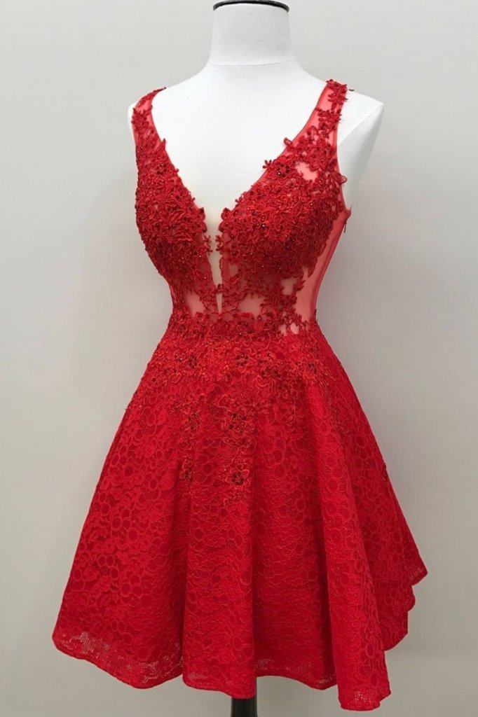 Pretty V Neck Red Lace Beaded Homecoming Dress Short Prom Party Dress