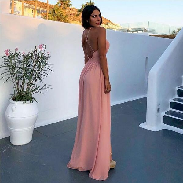 Sexy Deep V Neck Pink Chiffon Prom Party Dress with Split and Criss Cross Back