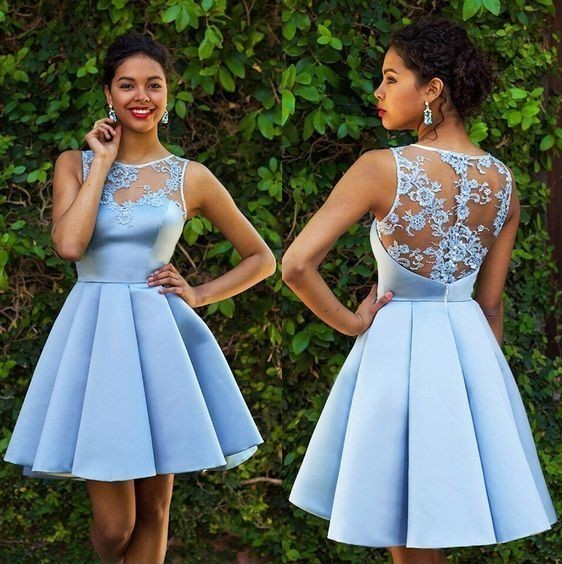 Sexy Lace Sheer Satin Sky Blue Short Homecoming Dresses Junior Party Dresses