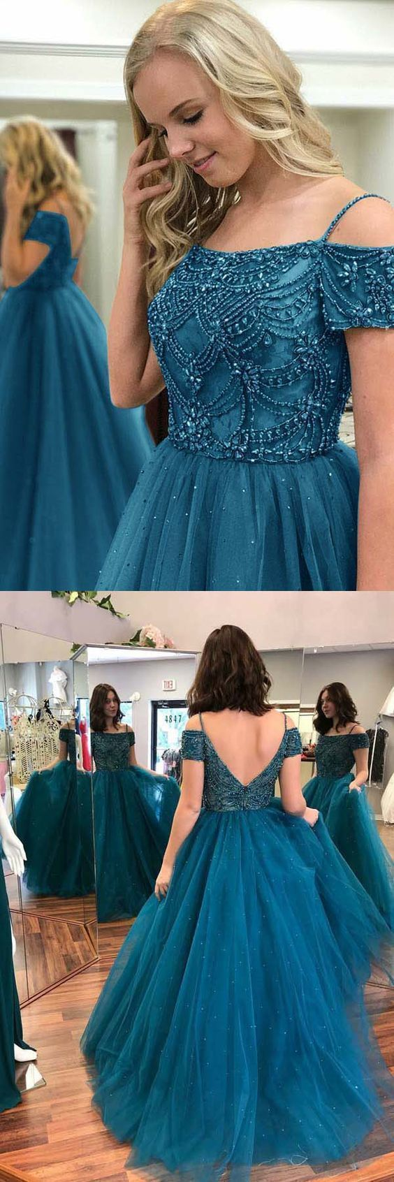Ball Gown Off-the-Shoulder Dark Blue Tulle by formalgowns on Zibbet