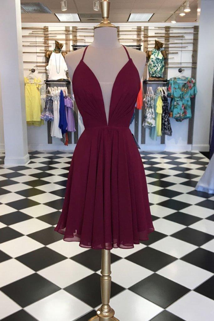 Simple Burgundy Chiffon Short Homecoming Dresses Short Prom Dress2