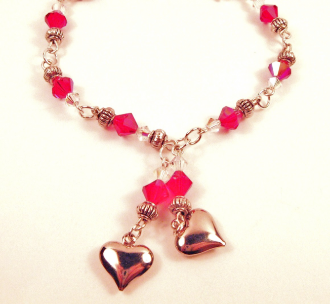 Red Swarovski Crystal Sweethearts Bracelet