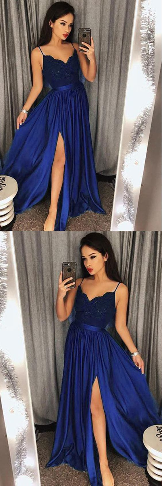 c39f383bb037 Sexy Navy Blue V-Neck Lace Bodice Prom/Evening by formalgowns on