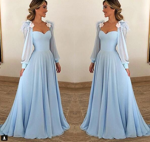 Sky Blue Long Sleeves Chiffon Prom Dresses Evening Dress Vetido de Festa