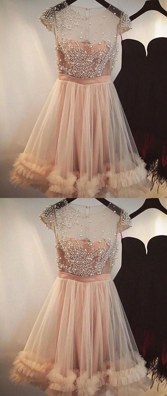 4cd058b3e0e A-Line Jewel Light Champagne Short Homecoming by formalgowns on Zibbet
