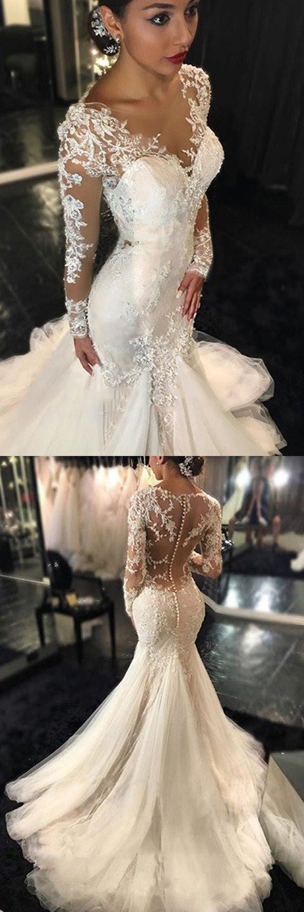 ?Long Sleeve Lace Mermaid Wedding Dresses, Sexy See Through Long Custom Wedding