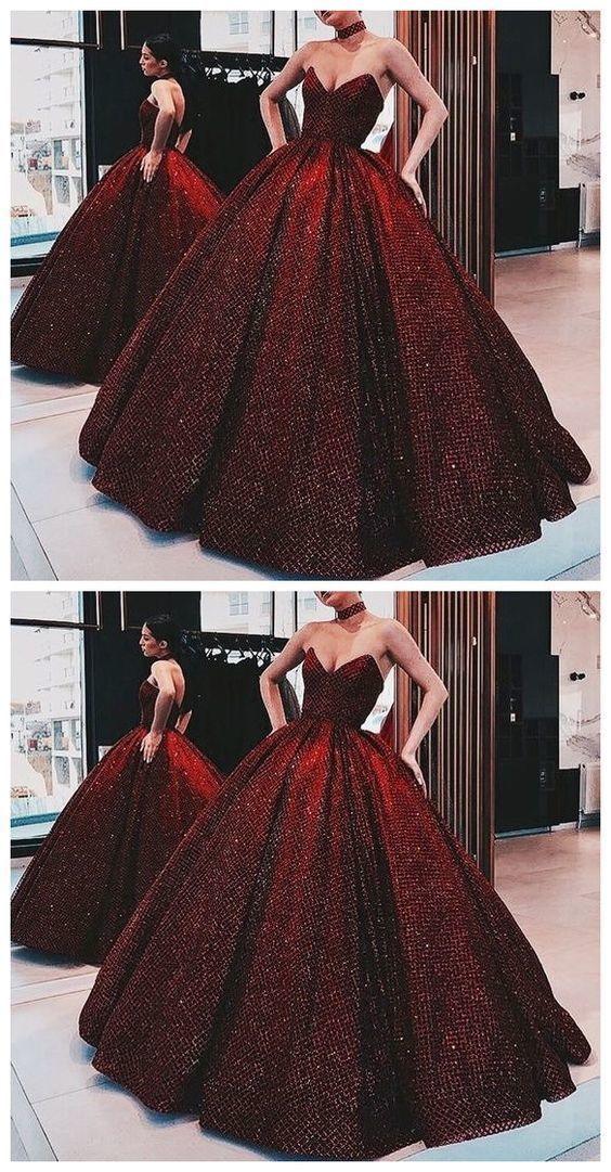 Ball Gown Wine Red Sequin Floor-Length Burgundy Quinceanera Dress Sweet 16