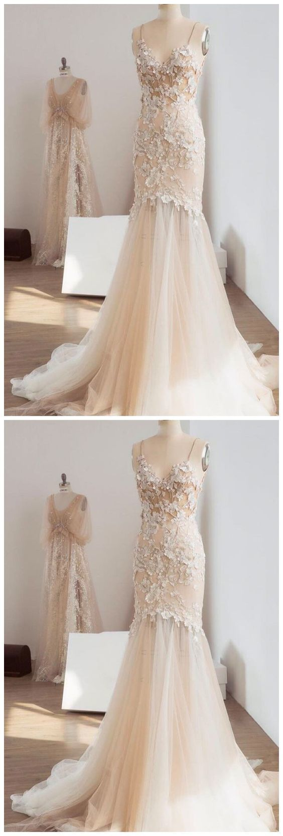Champagne Mermaid Wedding Dresses Spaghetti by formalgowns on Zibbet