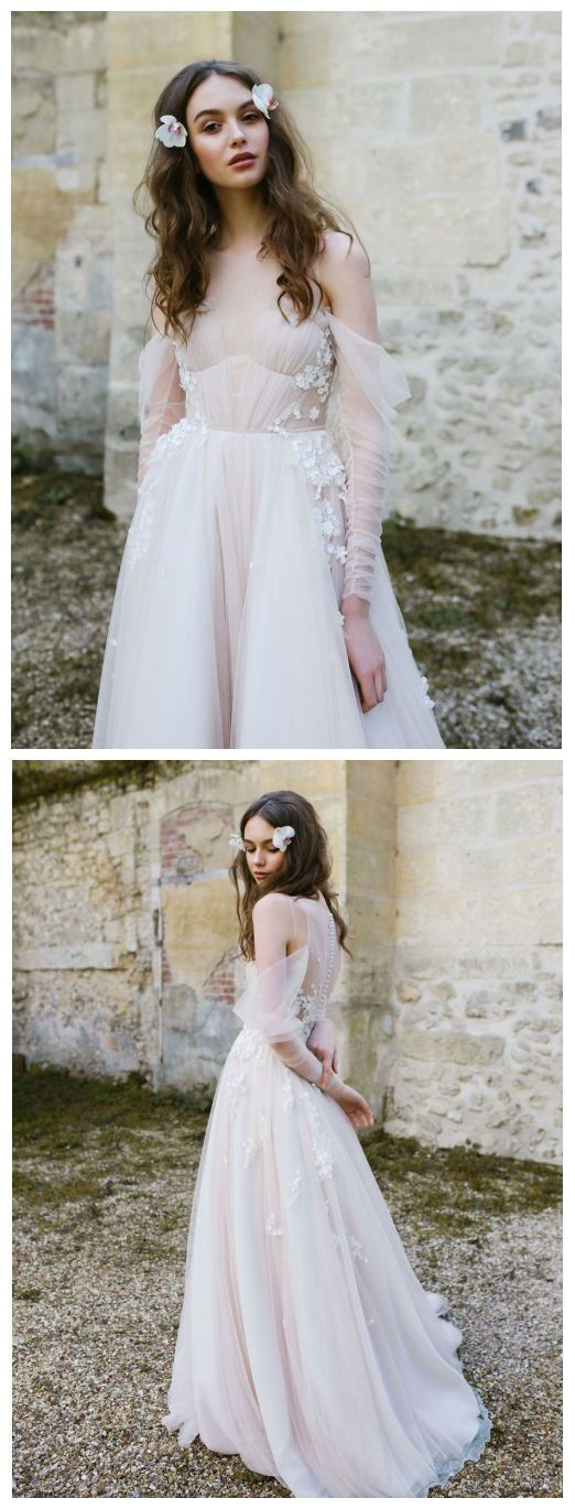Long Sleeve Bohemian Beach Wedding Dresses by formalgowns on Zibbet