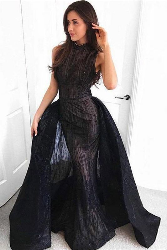 Mermaid Round Neck Floor-Length Black by formalgowns on Zibbet