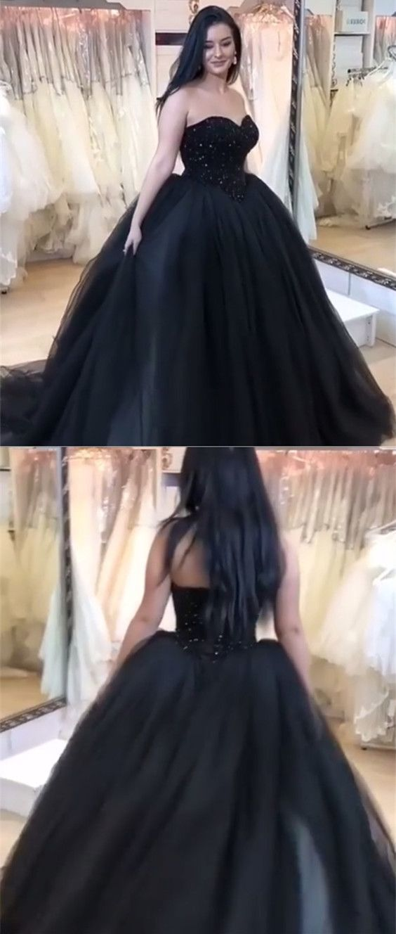 Black Tulle Ball Gowns Sweetheart Wedding Dress,Sleeveless Wedding Dress,Black