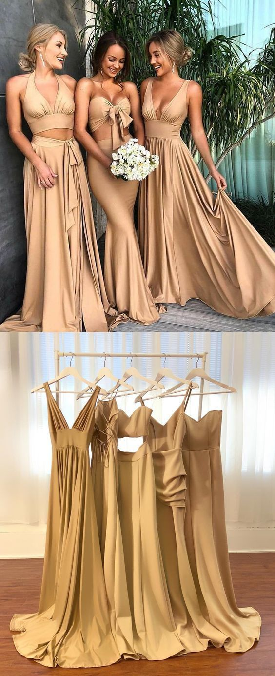 modest two piece champagne long bridesmaid dresses, simple deep v neck