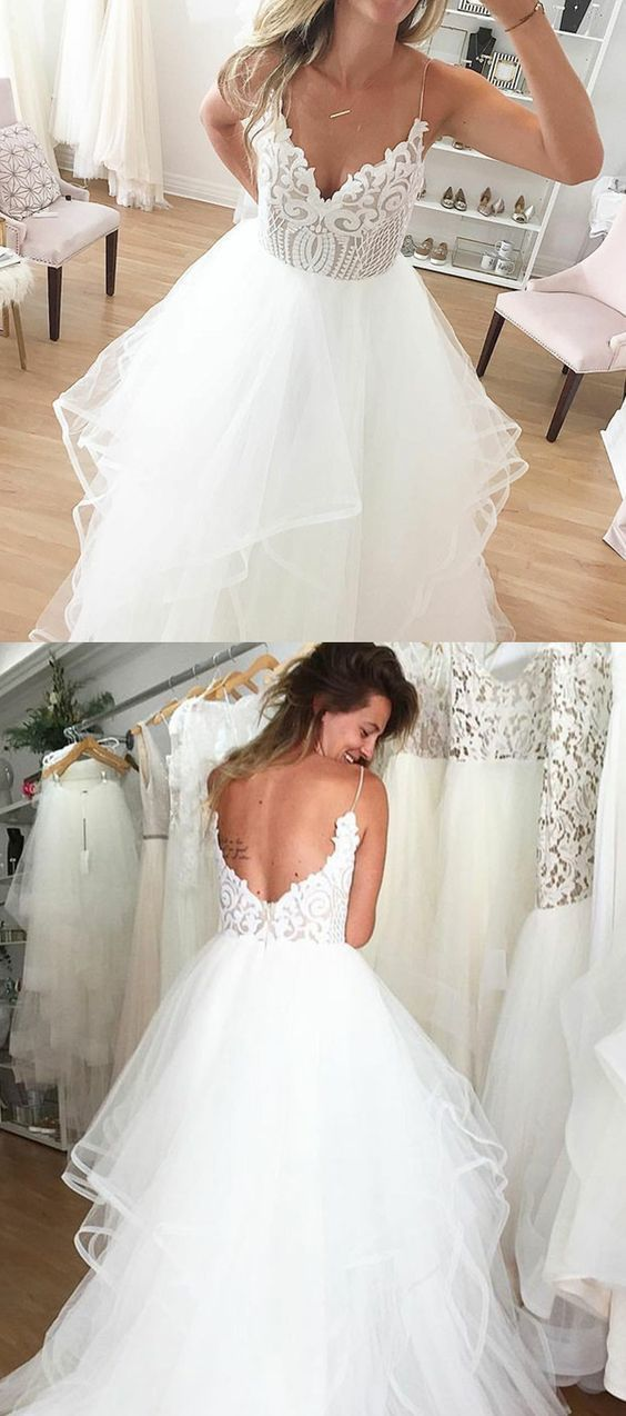 Spaghetti Straps Backless White Wedding Dress by formalgowns on Zibbet
