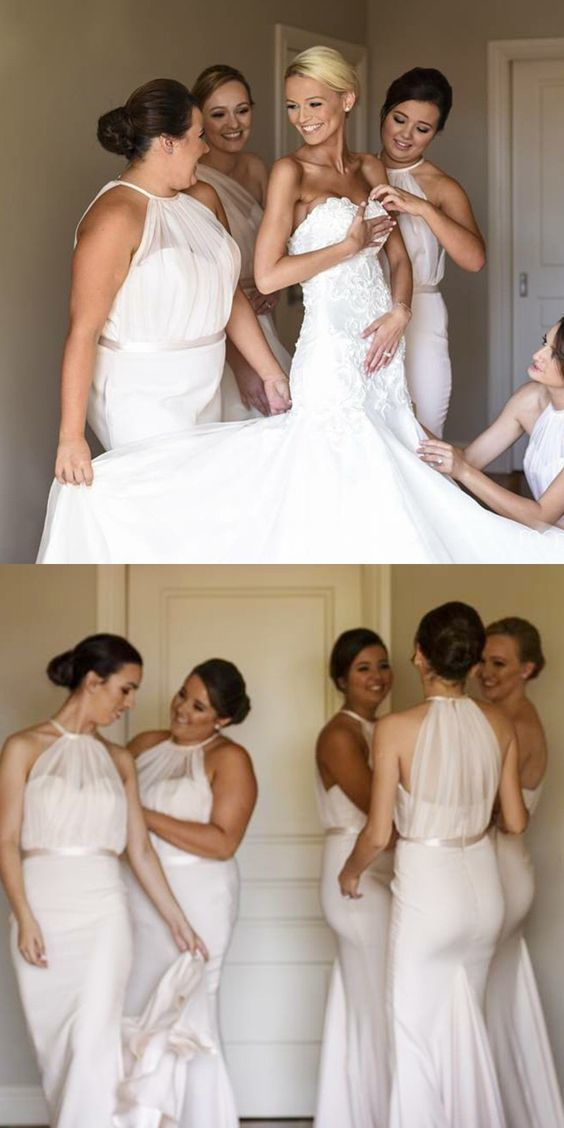 long bridesmadi dresses, elegant mermaid sweep train wedding party dresses,