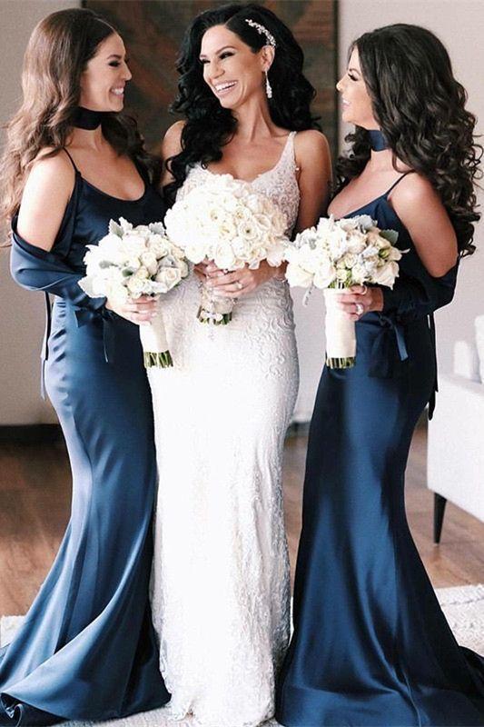 cda63456022 modern navy blue mermaid bridesmaid dresses
